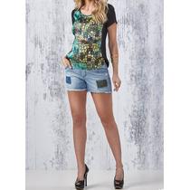 Short Jeans Com Elastano Gestante Mommybaby