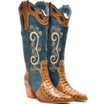 Bota Country Feminina Cano Longo Texana Rodeio Couro Rodeio