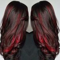 Aplique Cabelo Mega Hair Preto Com Mechas Vermelhas 70 Cm