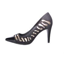 Sapato Feminino Scarpin Festa Preto Detalhes Dourado Esdra