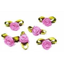 Rosa Flor Rococó De Cetim Várias Cores - 100 Unidades