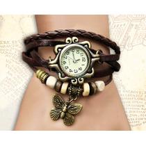 Relógio Couro Feminino Pingente Borboleta Frete Apenas 5 R$!