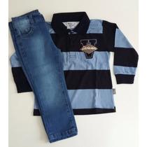 Conjunto Camisa Pólo E Calça Jeans Tamanho 2-código: 34117
