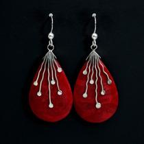 Brinco Feminino De Prata 925 + Coral Marinho Vermelho Polido
