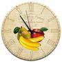 Relógio De Parede Banana, Maça E Pera Com Fundo Bege Em Mdf