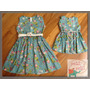 Vestido Tricoline Turquesa Mãe E Filha (valor Do Kit)