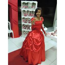 Vestido De Debutante 15 Anos Vermelho Com Renda Manga E Luva
