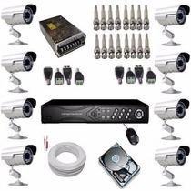 Kit Camera Segurança Residencial 8 Canais Gravador Hd 500 Gb