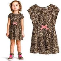 Vestido Infantil Importado Onça Com Tiara