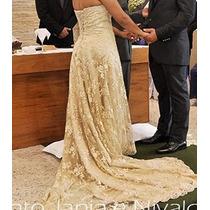Vestido De Noiva Rendado Cor Champanhe Usado Uma Única Vez.