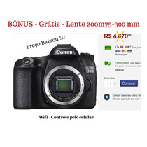 Camera Digital Canon 70d Wifi - Zoom 75-300 Gratis! + 16 Gb