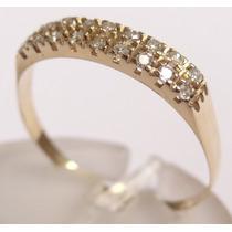 Paris Jóias- Anel 1/2 Aliança Dupla De Diamantes Em Ouro 18k