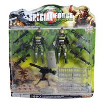 Kit 2 Bonecos Soldados De Guerra Force Action Team Brinquedo