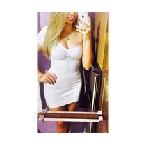 Vestido Casual Bandage Branco Colada Curto Pronta Entrega
