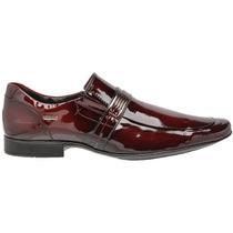 Sapato Social Verniz Vinho Masculino Em Couro