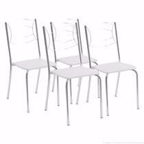 Kit Com 4 Cadeiras Cromadas Brigatto Napa Branca - Lacradas