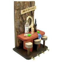 Porta Chaves Rústico Em Madeira -lareira Bar- 24,5x15,5x13