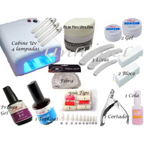 Kit Unha Acrigel Cabine Uv + Lixas + 2 X Gel Uv Fibra Vidro