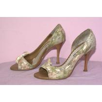 Sapato Scarpin Peep Toe Floral De Renda E Laço De Cetim 35