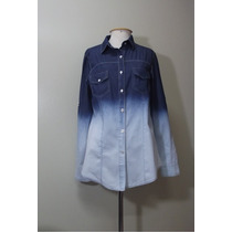 Camisa Blusa Tipo Jeans Feminina Degrade Manga Longa 2 Cores