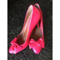Sapato Lacinho Pink Schutz Verniz