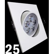 Kit 25 Spot Led Branco Luz Fria 5w Quadrada Teto Sanca Gesso
