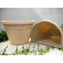 Vaso De Parede G Bege P/ Jardim De Inverno E Suculentas