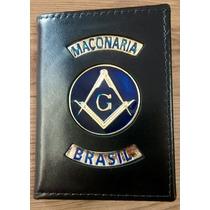 Carteira Símbolo Maçonaria Brasil Brasão Azul Couro Legítimo