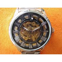 Relógio Tipo Skeleton Sinobi Automático Pulseira Aço Inox