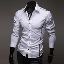 Camisa Manga Longa Slim Fit Masculina Sociais