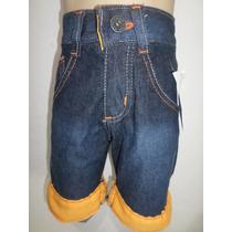 Lote C/3 Bermuda Jeans Infantil Barra Colorida