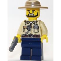 Lego Boneco Policial Florestal Arma - City - Frete R$5,00