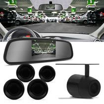 Kit Sensor De Estacionamento + Camera De Ré + Retrovisor Lcd