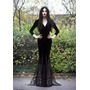 Vestido Bruxa Celta Gótico Sereia Longo Veludo Renda Festa