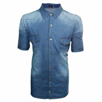 Camisa Jeans Azul Manchado Slim Fit Esporte Fino Casual