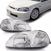 Farol Civic 1996 1997 1998 Foco Simples Cromado