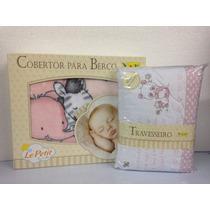 Kit Enxoval Para O Bebê Cobertor Travesseiro Bordado Colibri