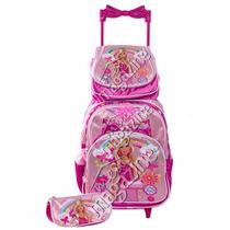 Kit Mochila Escolar Infantil Princesas Com Rodinhas