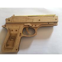 Pistola Arma De Atirar Elástico Feita Em Mdf Funcional