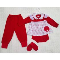 Conjunto Pagão Bebê Menina Vermelho Body Frete Grátis