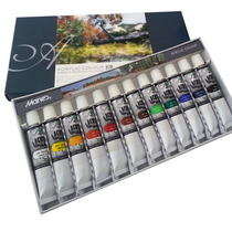 Caixa De Tinta Acrilica Com 12 Cores Bisnaga Pintura Tela