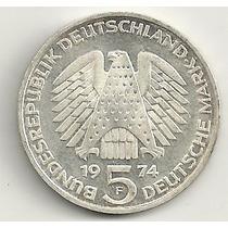 5 Marcos - Prata - Alemanha - 1974 F - Comemorativa