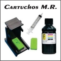 Kit Tinta Recarga Cartucho Preto Hp 500 Ml + Snap 122 662