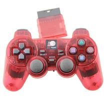 6 Controle Sem Fio Playstation 2 2.4ghz Dualshock Vermelho
