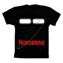 Camiseta Camisa Infantil Adulto Minecraft Herobrine Algodão