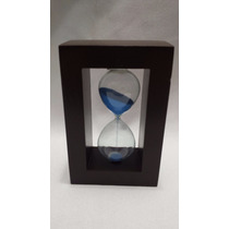 Ampulheta Base Madeira Areia Azul Relógio Decoração