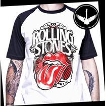 Camiseta Raglan Rolling Stones Baby Look Rock Banda Língua