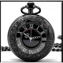 Relógio De Bolso Numeros Romanos Preto Quartzo Trabalhado