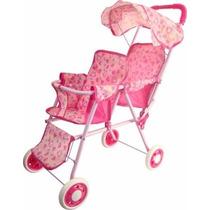 Carrinho De Bebê Para Boneca Gêmeas Dobrável Com Capota