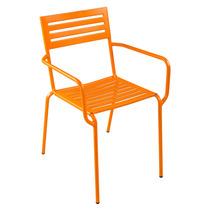 Cadeira Poltrona Jardim Em Aço Laranja